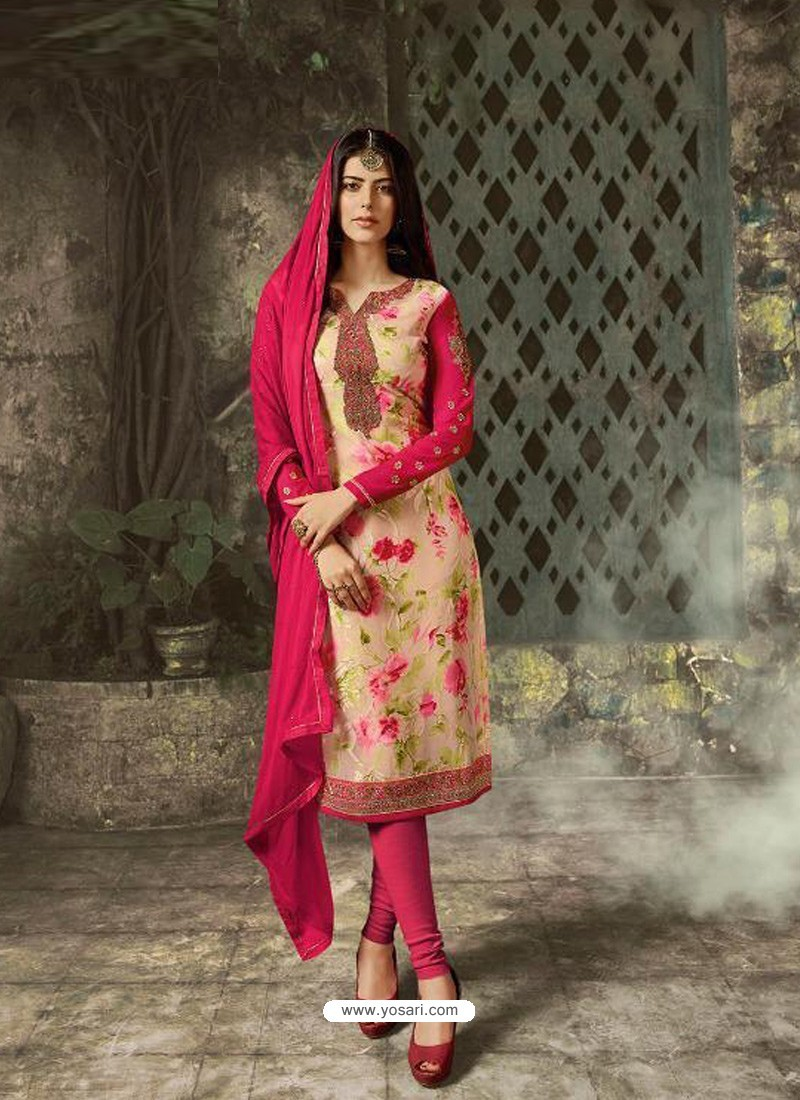 Light Beige Designer Party Wear Churidar Salwar Suit