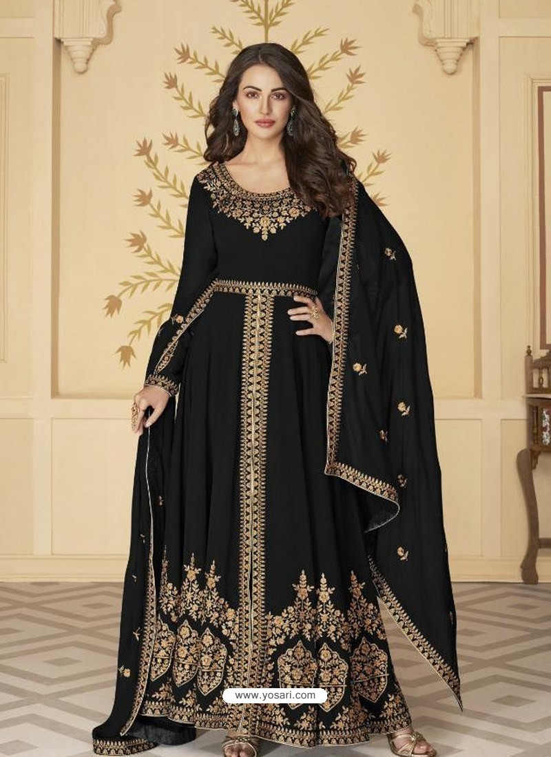 Black Latest Front Cut Designer Georgette Party Wear Anarkali Suit