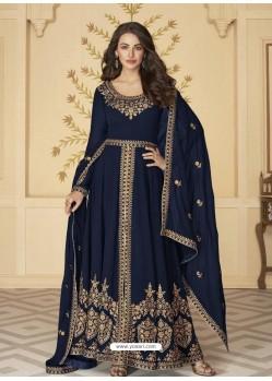 Navy Blue Latest Front Cut Designer Georgette Party Wear Anarkali Suit