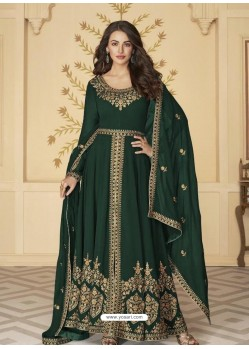 Dark Green Latest Front Cut Designer Georgette Party Wear Anarkali Suit