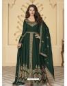 Dark Green Latest Front Cut Designer Georgette Party Wear Anarkali Suit