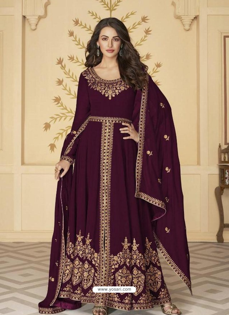 Purple Latest Front Cut Designer Georgette Party Wear Anarkali Suit