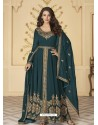 Teal Blue Latest Front Cut Designer Georgette Party Wear Anarkali Suit
