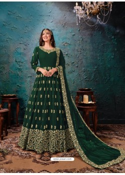 Dark Green Latest Designer Faux Georgette Party Wear Anarkali Suit