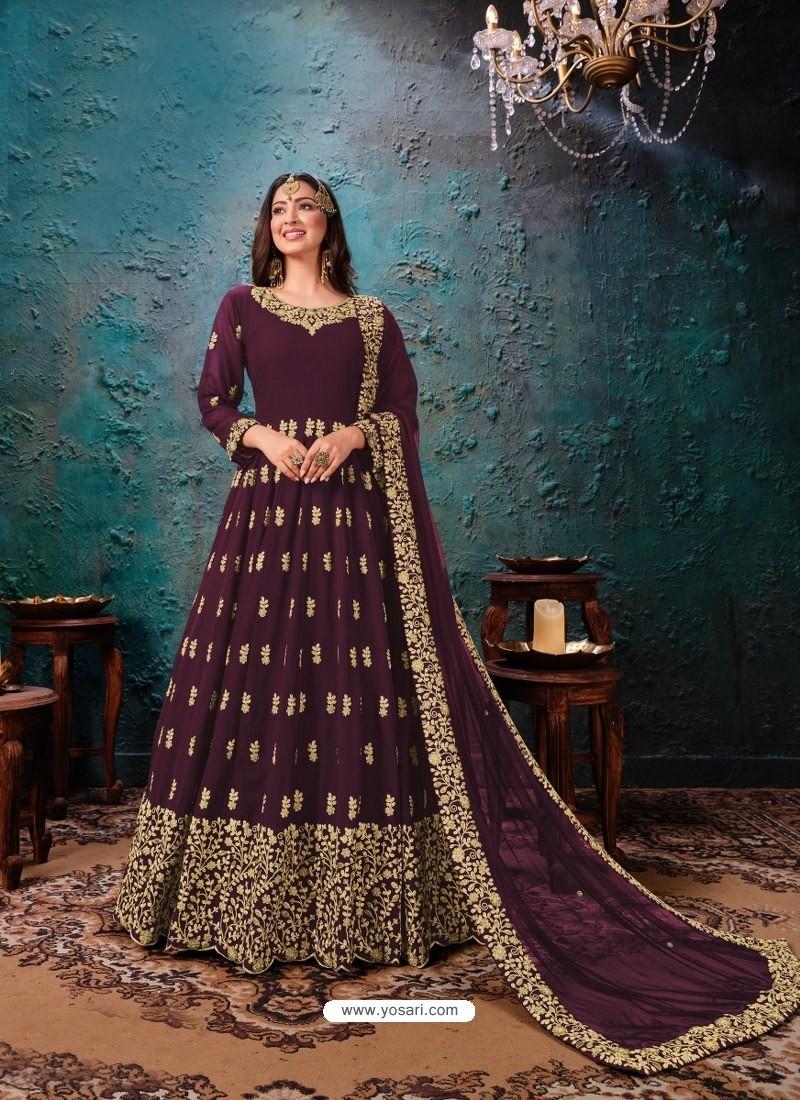 Purple Latest Designer Faux Georgette Party Wear Anarkali Suit