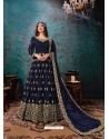 Navy Blue Latest Designer Faux Georgette Party Wear Anarkali Suit