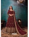 Maroon Latest Designer Faux Georgette Party Wear Anarkali Suit
