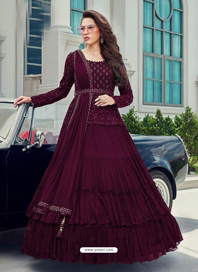 Deep Wine Splendid Designer Faux Georgette Party Wear Anarkali Suit