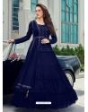 Royal Blue Splendid Designer Faux Georgette Party Wear Anarkali Suit