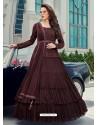 Coffee Splendid Designer Faux Georgette Party Wear Anarkali Suit