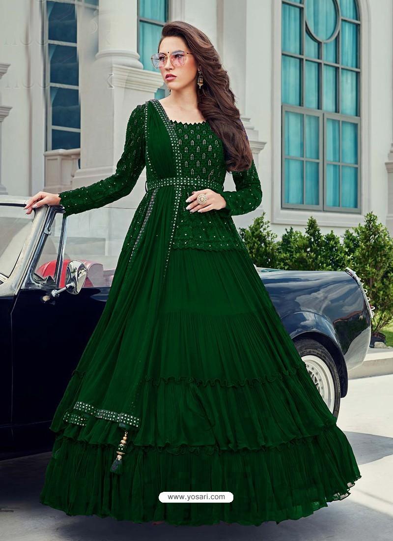 Forest Green Splendid Designer Faux Georgette Party Wear Anarkali Suit