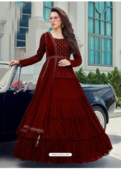 Wine Splendid Designer Faux Georgette Party Wear Anarkali Suit