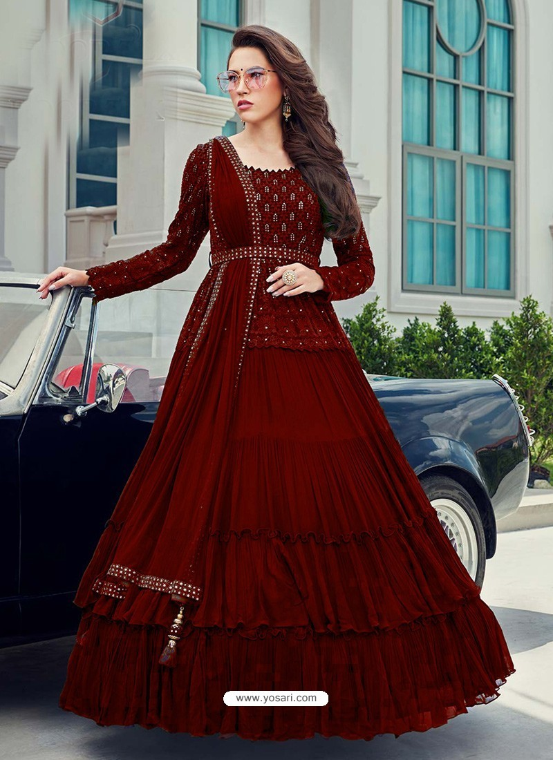 Wine Splendid Designer Faux Georgette Party Wear Anarkali Suit