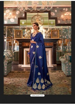 Royal Blue Sensational Designer Party Wear Satin Weaving Silk Sari
