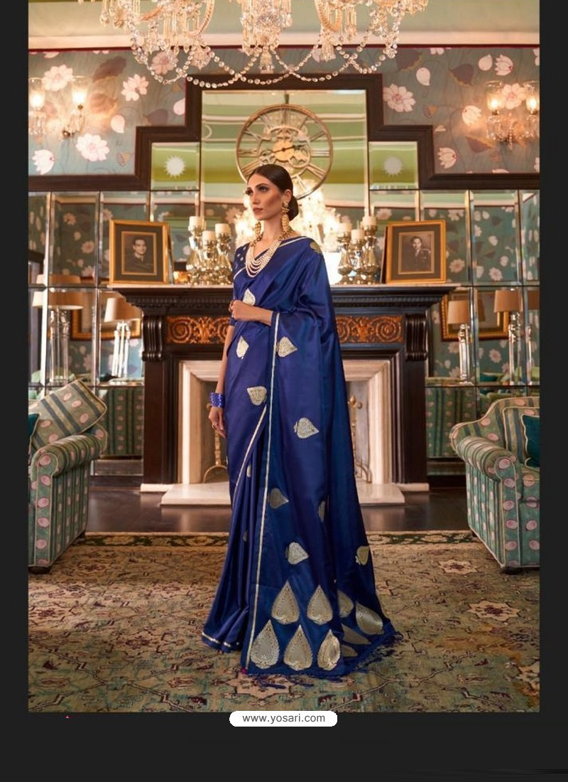 Royal Blue Sensational Designer Party Wear Satin Weaving Silk Sari