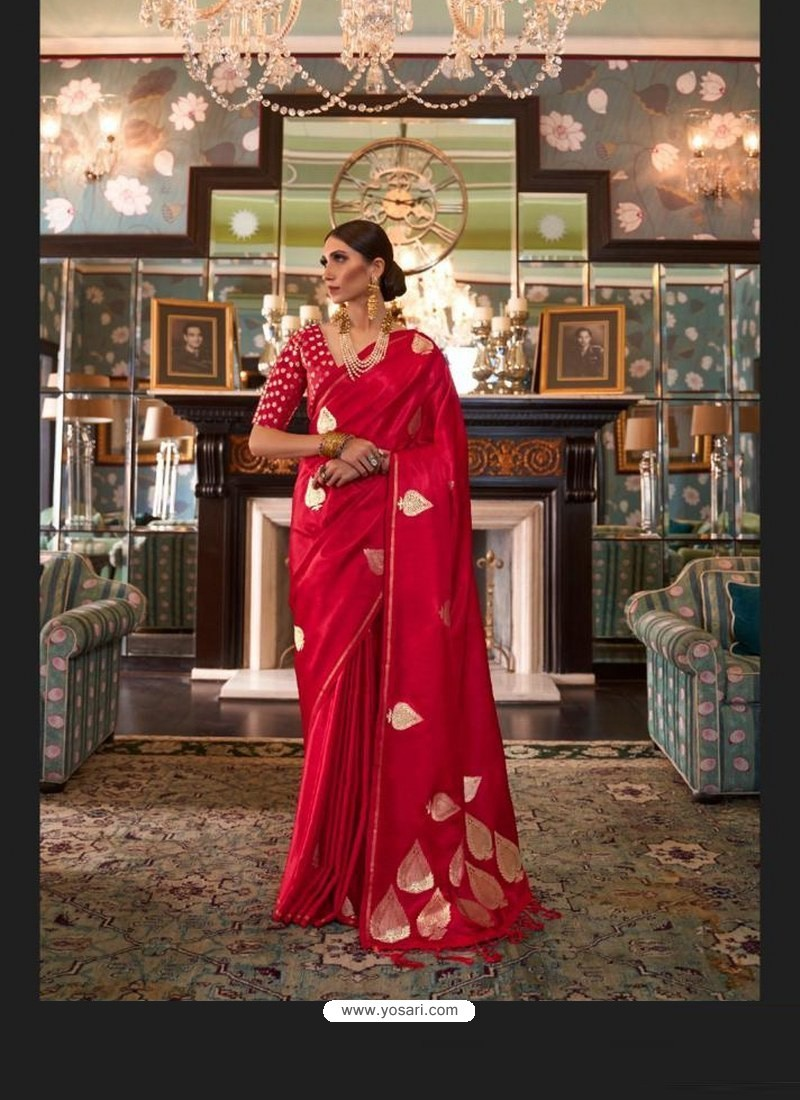 Red Sensational Designer Party Wear Satin Weaving Silk Sari