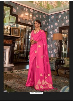 Hot Pink Sensational Designer Party Wear Satin Weaving Silk Sari
