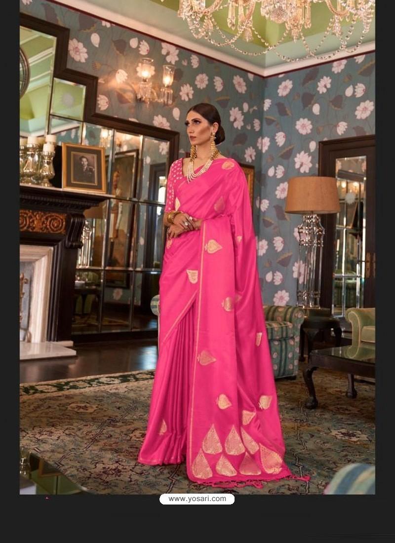 Hot Pink Sensational Designer Party Wear Satin Weaving Silk Sari