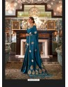 Teal Blue Sensational Designer Party Wear Satin Weaving Silk Sari