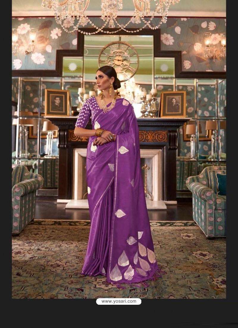 Lavender Sensational Designer Party Wear Satin Weaving Silk Sari