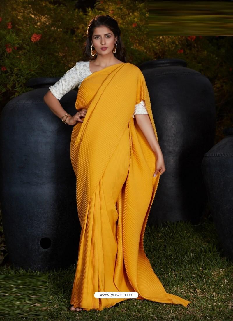 Yellow Gorgeous Designer Party Wear Silk Sari