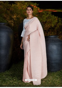Baby Pink Gorgeous Designer Party Wear Silk Sari