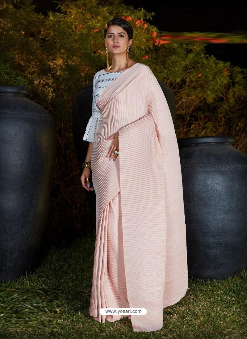 Baby Pink Gorgeous Designer Party Wear Silk Sari