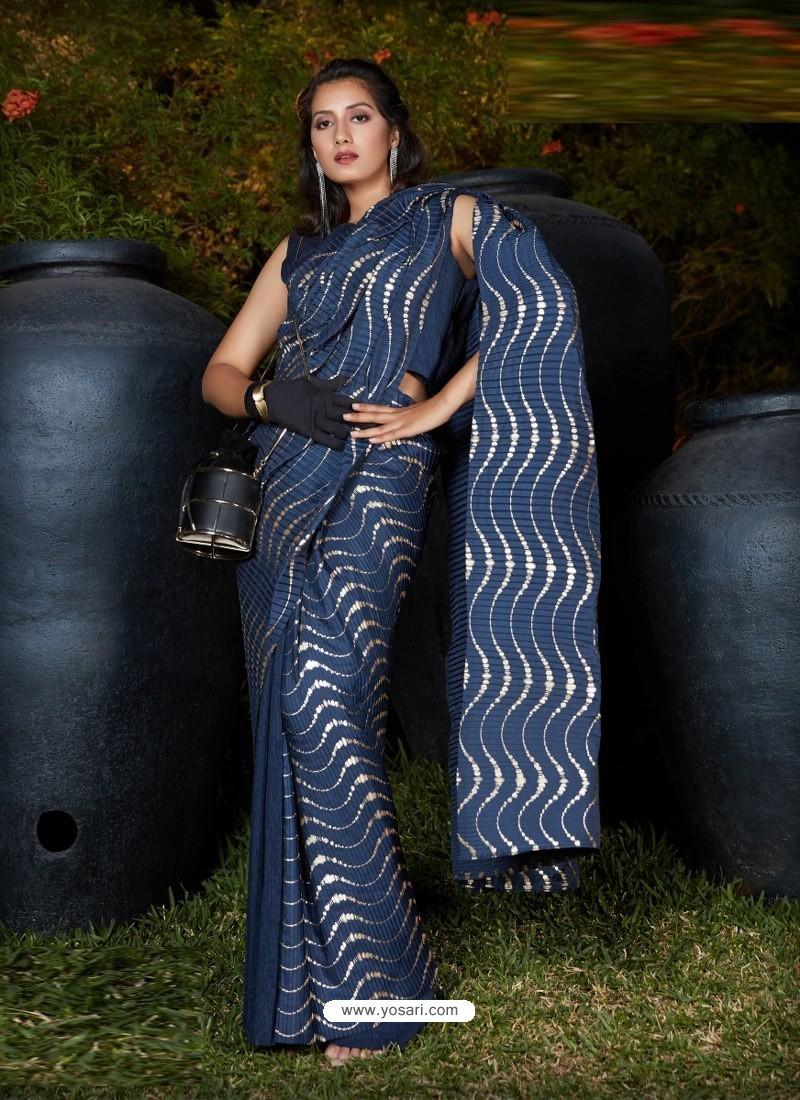 Dark Blue Gorgeous Designer Party Wear Silk Sari