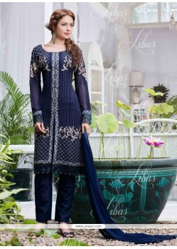 Customary Lace Work Blue Salwar Suit