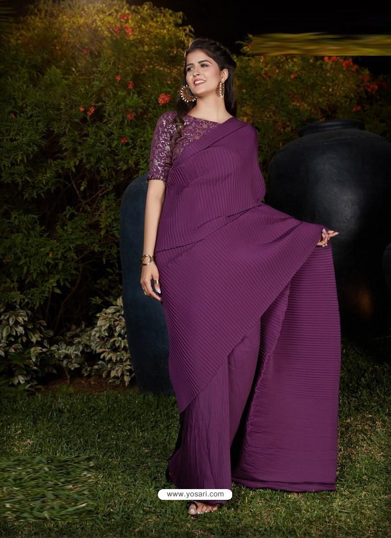 Purple Gorgeous Designer Party Wear Silk Sari