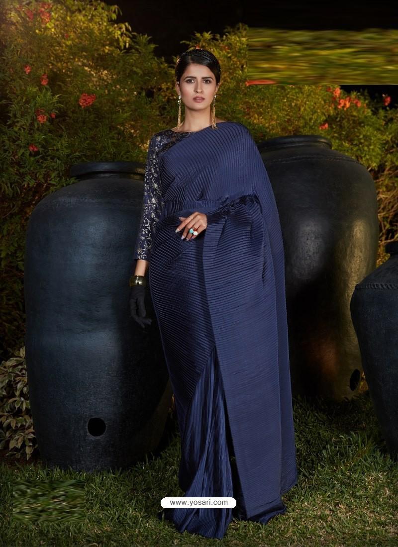 Navy Blue Gorgeous Designer Party Wear Silk Sari