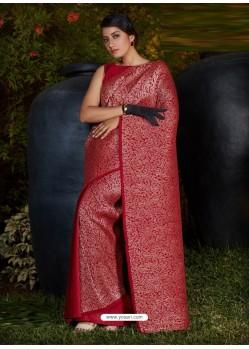 Maroon Gorgeous Designer Party Wear Silk Sari