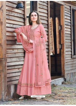 Peach Splendid Designer Dola Silk Party Wear Anarkali Suit
