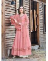 Peach Splendid Designer Dola Silk Party Wear Anarkali Suit