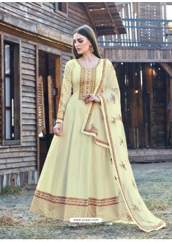 Cream Splendid Designer Dola Silk Party Wear Anarkali Suit