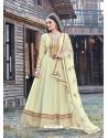 Cream Splendid Designer Dola Silk Party Wear Anarkali Suit