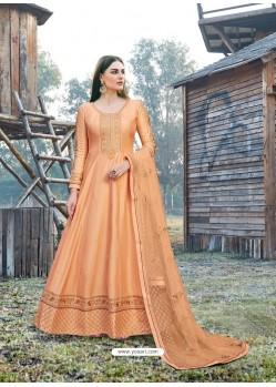 Light Orange Splendid Designer Dola Silk Party Wear Anarkali Suit