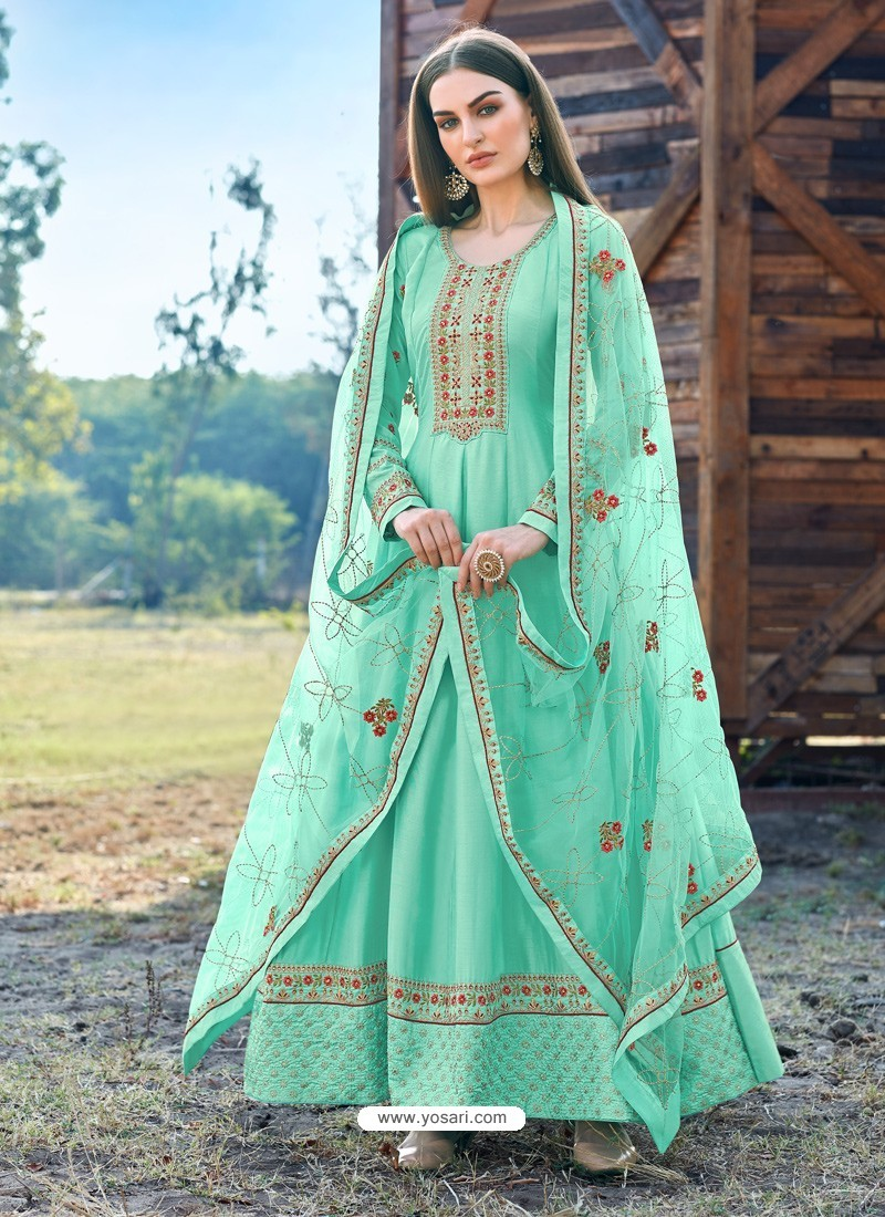 Aqua Mint Splendid Designer Dola Silk Party Wear Anarkali Suit