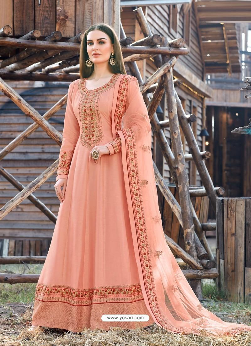 Light Red Splendid Designer Dola Silk Party Wear Anarkali Suit