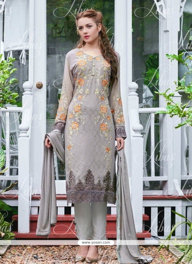 Energetic Georgette Embroidered Work Salwar Suit