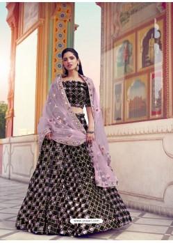 Mauve And Black Gorgeous Heavy Designer Wedding Wear Lehenga Choli