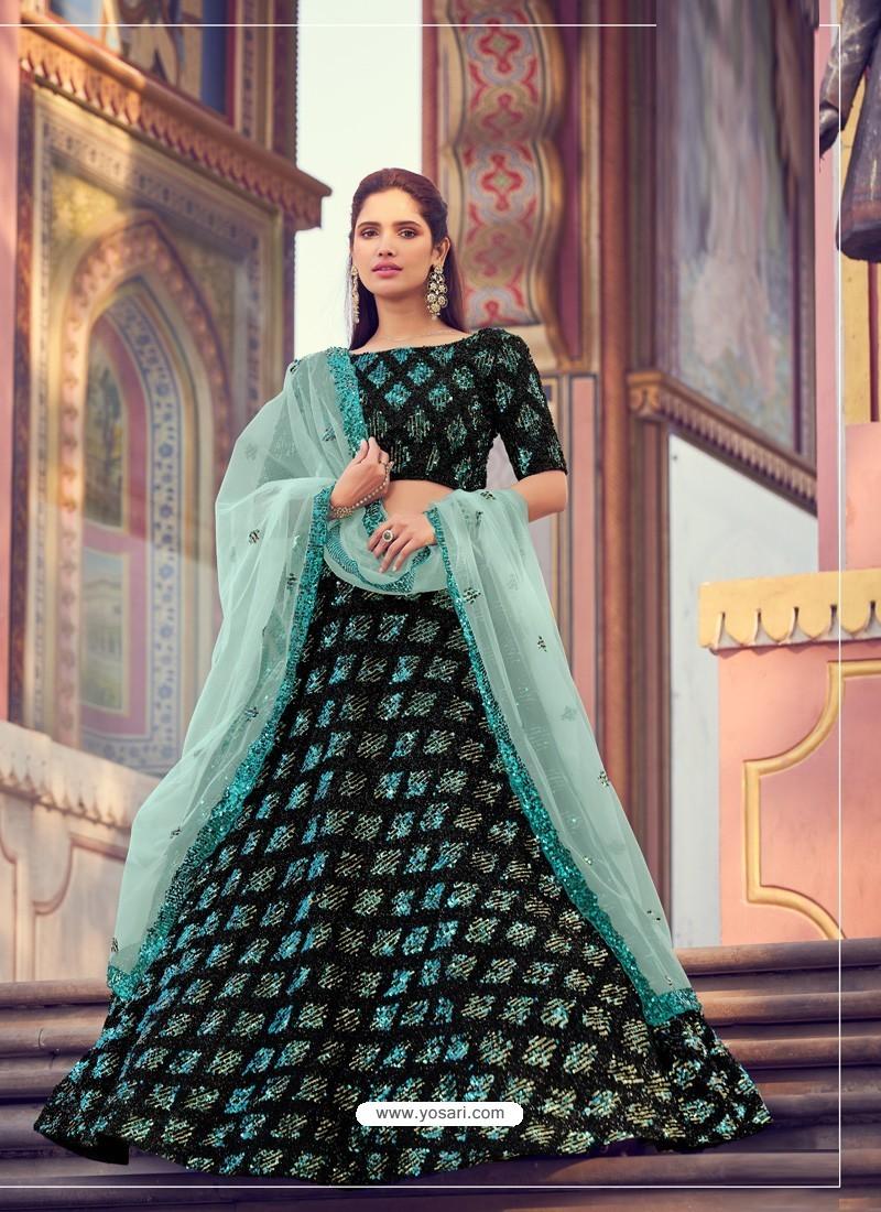 Sky Blue And Black Gorgeous Heavy Designer Wedding Wear Lehenga Choli