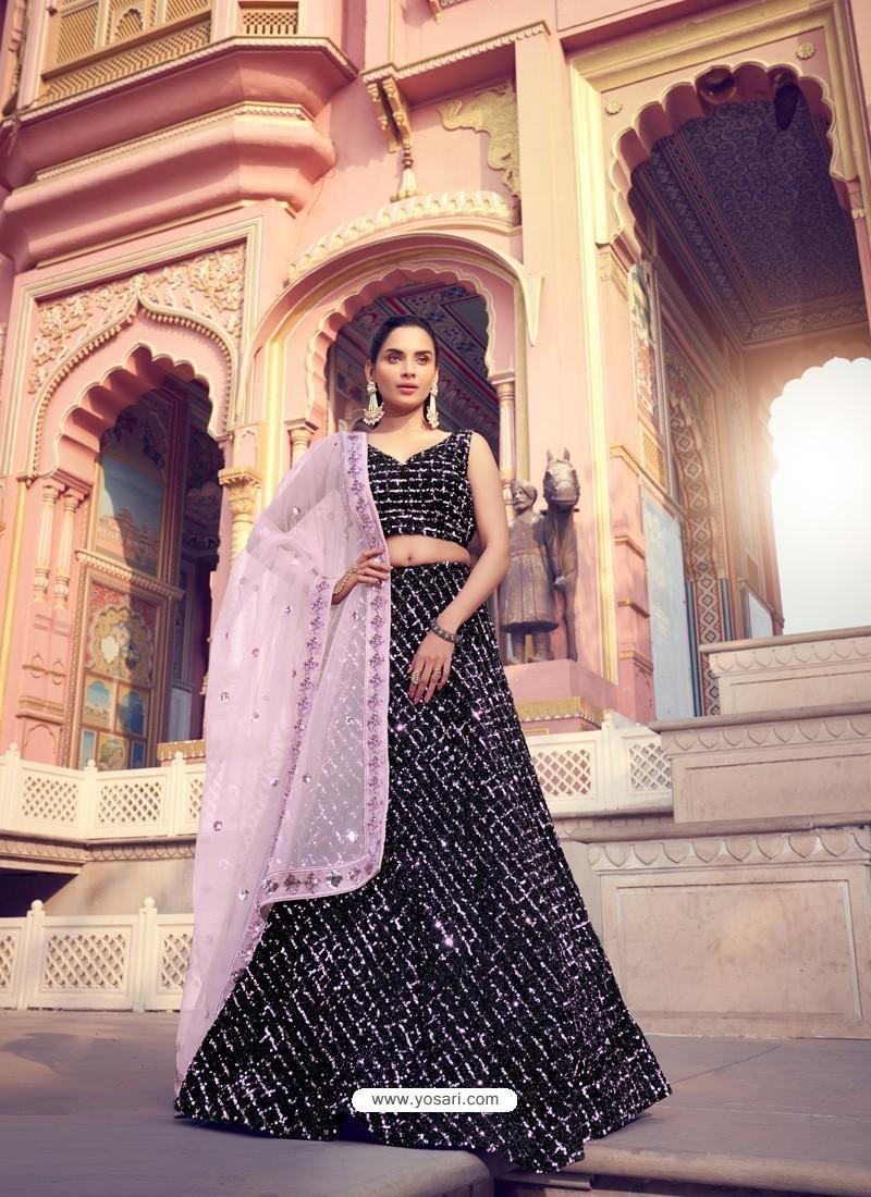 Dusty Pink And Black Gorgeous Heavy Designer Wedding Wear Lehenga Choli