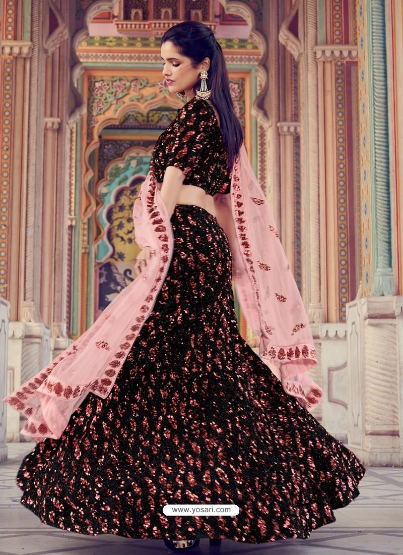 Orange And Black Gorgeous Heavy Designer Wedding Wear Lehenga Choli