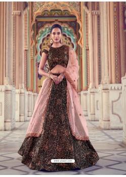 Light Orange And Black Gorgeous Heavy Designer Wedding Wear Lehenga Choli