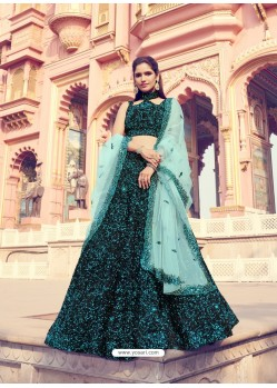 Blue And Black Gorgeous Heavy Designer Wedding Wear Lehenga Choli