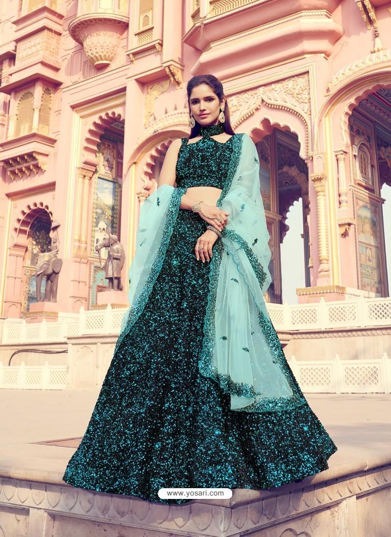 Blue And Black Gorgeous Heavy Designer Wedding Wear Lehenga Choli