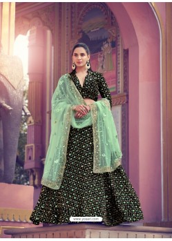 Sea Green And Black Gorgeous Heavy Designer Wedding Wear Lehenga Choli