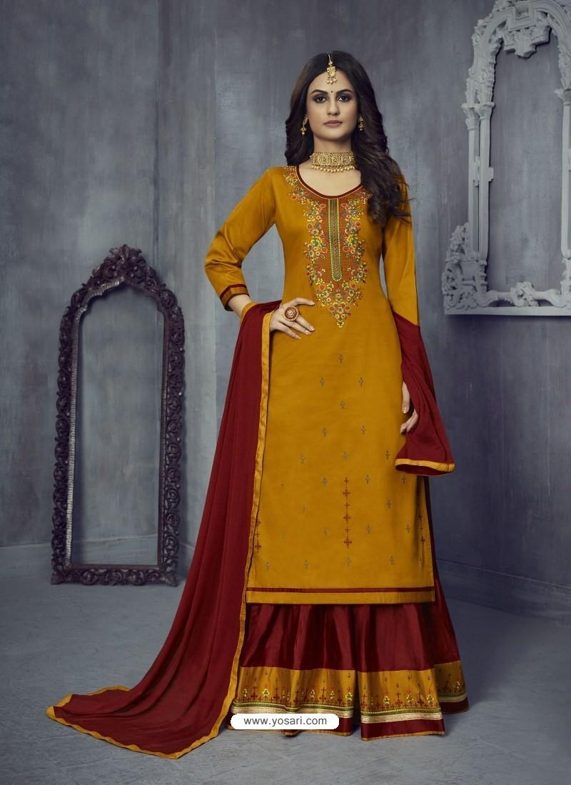Mustard Heavy Embroidered Designer Jam Silk Lehenga Suit
