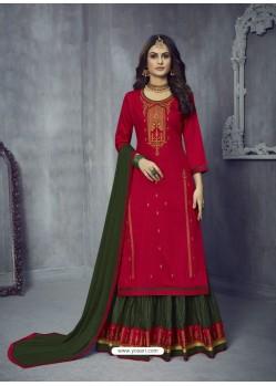 Rose Red Heavy Embroidered Designer Jam Silk Lehenga Suit
